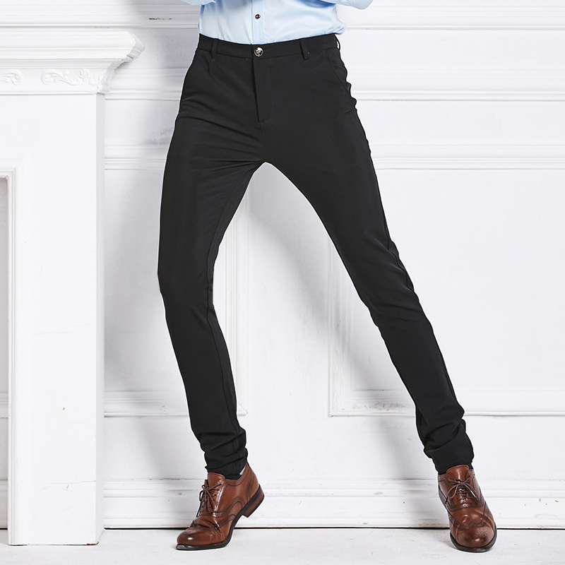 Fall 20189 new ironless wrinkle-resistant men's casual pants business casual pants Korean version of body-building trousers