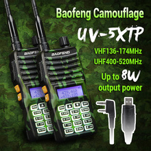 2x Baofeng UV-5X TP Camouflage Tripower 8W/4W/1W Twin band Twin Show Standby Two Means Radio Walkie Talkies+ 2x Earpiece+ Cable
