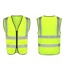3D Multi-pocket Reflective Vest Clothing Fluorescent Yellow For Riding And Running
