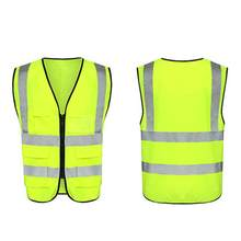 3D Multi-pocket Reflective Vest Reflective Clothing Fluorescent Yellow For Riding And Running(China)