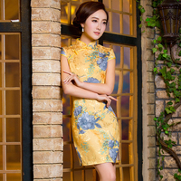 2015 Qipao Chinese Traditional Dress Yellow Cheongsams Short Sleeve Rayon Qipao Dresses Mujere Vestido Evening Dresses