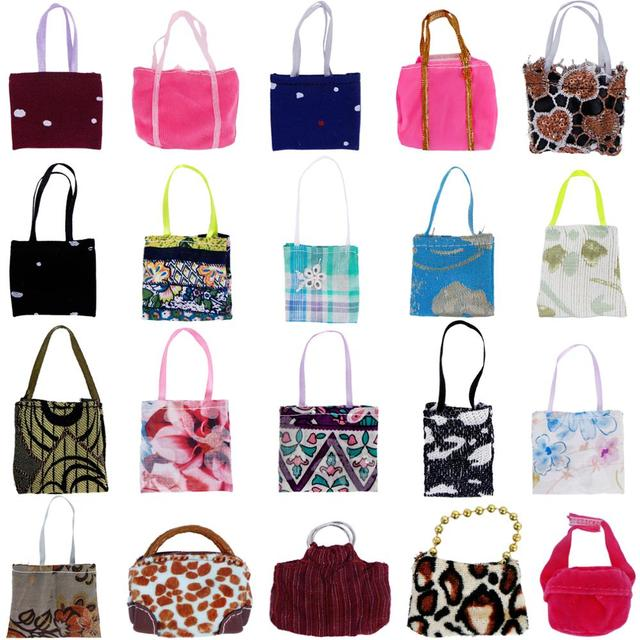 96168a9d49 5 Pcs/Lot Random Mixed Style Cute Bags Colorful Shoulder Handbag DIY  Accessories For Barbie Doll Baby Girl Kids Lovely Toy Gift
