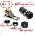 Gato Universal 4 em 1 lente telescópio Zoom de 10X lupa com tripé para telefone e tablet