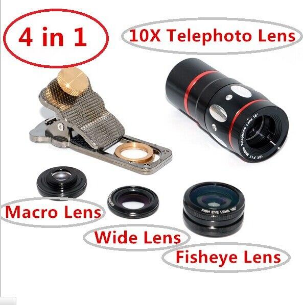 bilder für Universal katze clip 4 in 1 10X Zoom Teleskop teleobjektiv Lupe Mit Stativ Für handy und tablet