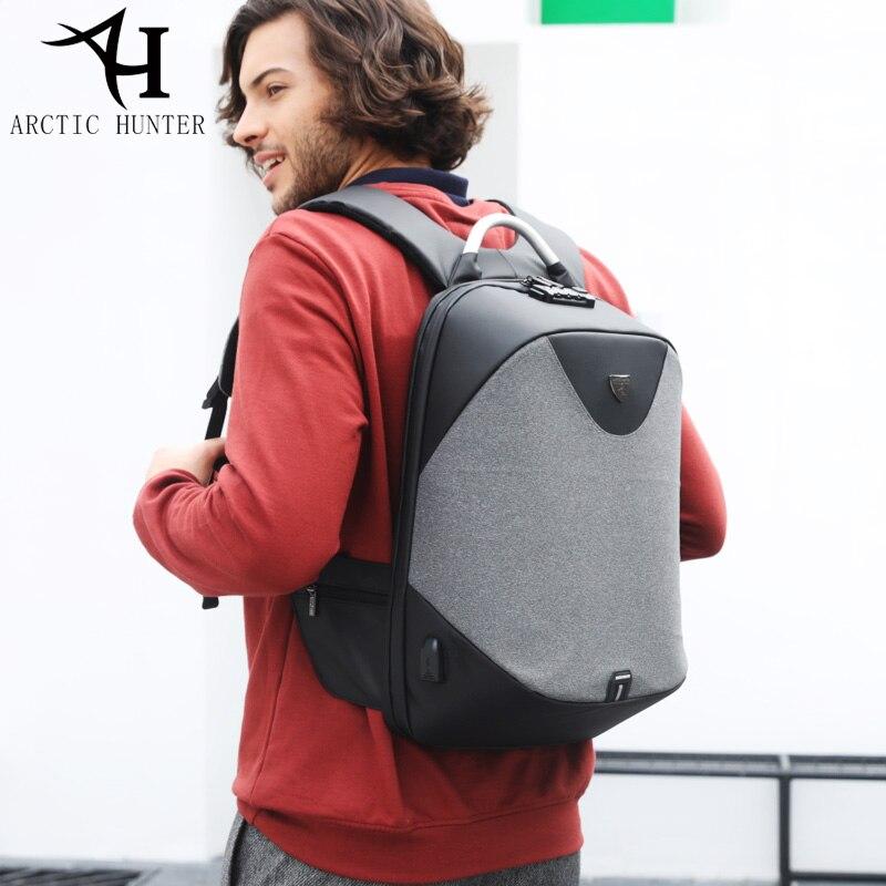 Арктический Охотник школа 15,6 ноутбук рюкзак мужской водостойкий Mochila повседневное путешествия бизнес USB Back pack мужской мешок Anti-theft подарок