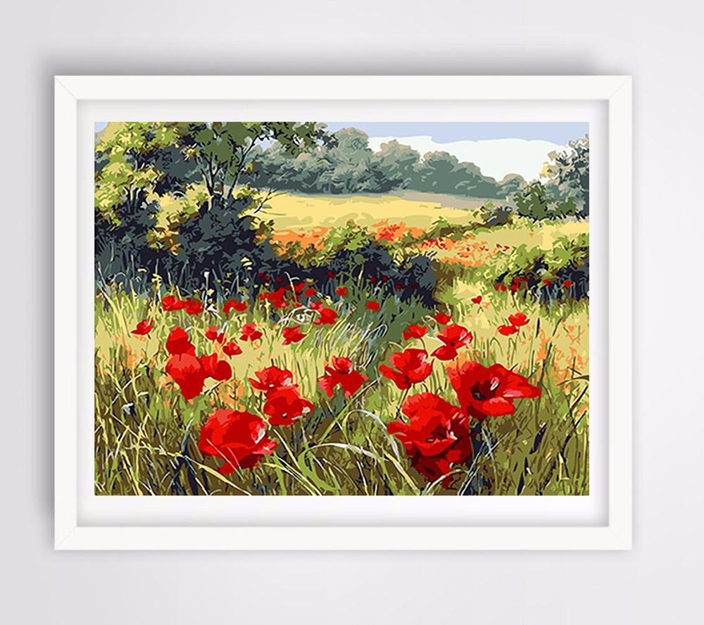 Malen Anzahl Rote Mohnblume Diy Gerahmtes ölgemälde By Zahlen Rote Blumen Fensterbilder Leinwand Malerei Für Wohnzimmer Wandkunst Wohnkultur