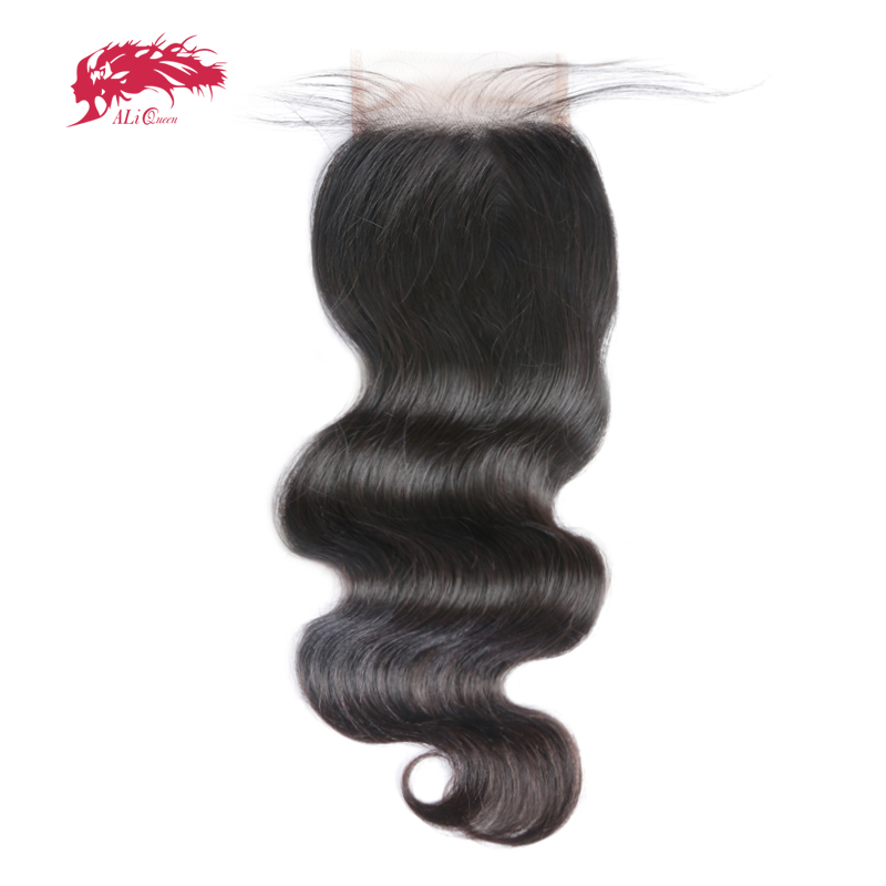 Ali Queen Hair Products 5x5 Lace Closure Pre-Plucked Med Baby Hair Brazilian Body Wave Virgin Human Hair Closure Gratis Levering