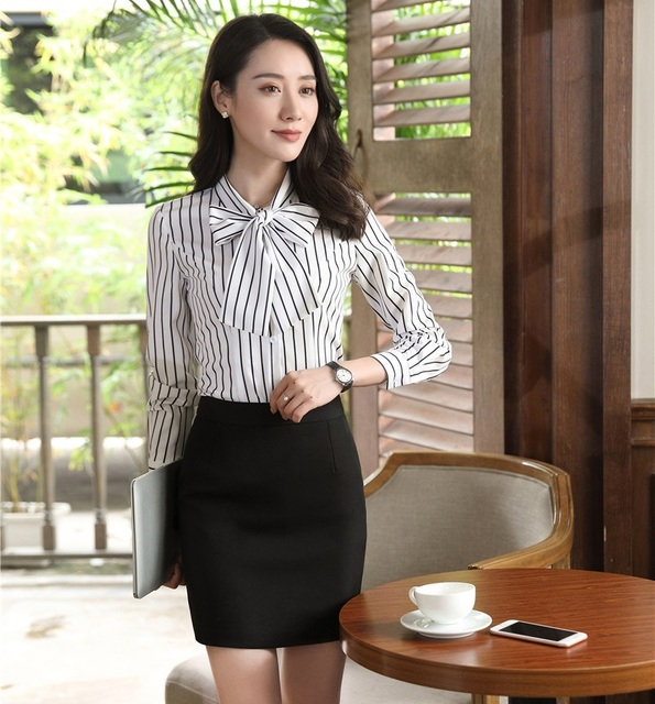 90c751c689d Fashion Women Business Suits with 2 Piece Skirt and Top Sets Ladies White  Striped Blouses   Shirts with Bow Tie Elegant