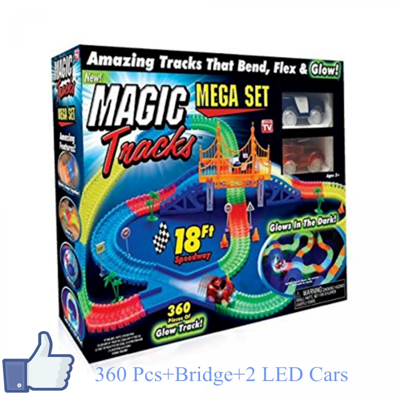 Dropshipping 360pcs/lot Magic Tracks Super Fun Toy Bend Flex Glow in the Dark with Bridge and 2 pcs LED Cars DIY  Racing Set mary pope osborne magic tree house 39 dark day in the deep sea
