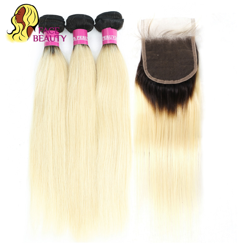 Facebeauty 1B 613 Peruvian Human Hair 2 Tone Dark Roots Ombre Blonde Remy Hair 3 Bundle