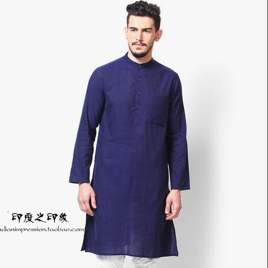Indian men's casual long sleeved gown Ethnic split gown ...