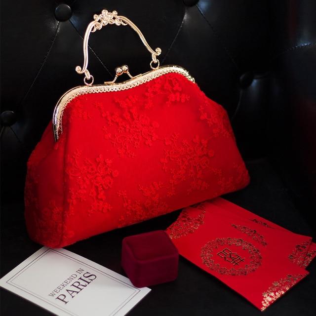 ceb7198618 2018 new female bag red wedding bride lace Bag Handbag Shoulder Crossbody Bag  Purse