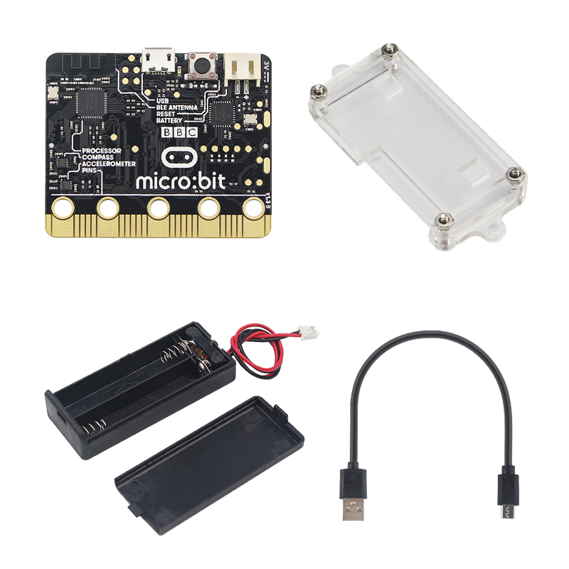 New Arrival Micro:bit kit Micro:bit Board + Acrylic Case + 7# Battery Holder + Micro USB Power&DATA Cable for Kids ProgramingNew Arrival Micro:bit kit Micro:bit Board + Acrylic Case + 7# Battery Holder + Micro USB Power&DATA Cable for Kids Programing