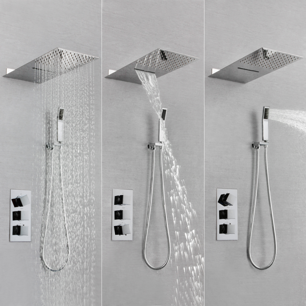 Skowll Faucet Set Rain Waterfall Shower Head Thermostatic Bath Mixer Sk 7622