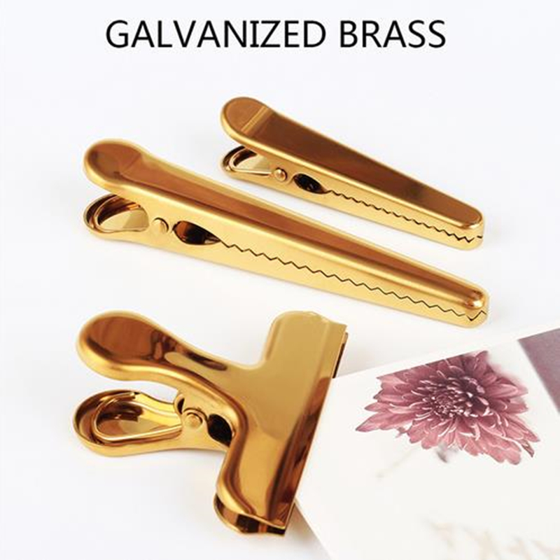 Cute Scandinavian Style Brass Clip Practical Stainless Steel Bill Holder Storage Metal Seal Clips Gold Long Tail / Durable Clip