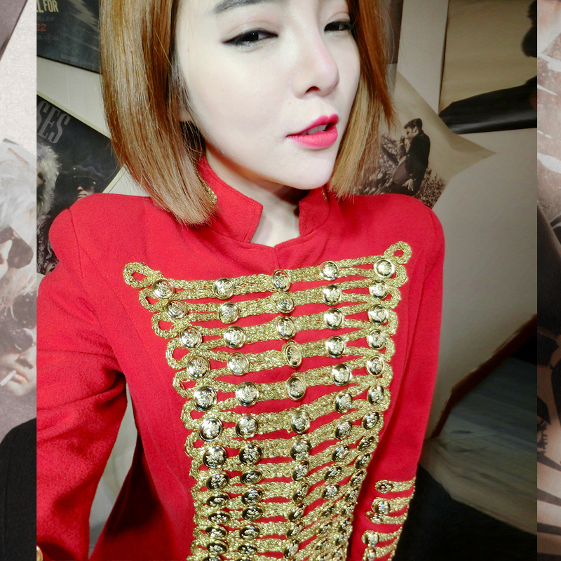 Militaire D9 À Rouge Mélangée Double Veste Or Laine En Vintage Boutonnage Slim Outwear Manteau Femmes Fit q45xH