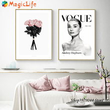 Audrey Hepburn Canvas Painting Pink Flower Art Wall Pictures Decor  Nordic Posters Unframed
