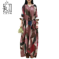 LZJN 2017 Autumn Women Long Dress Full Sleeve Maxi Dresses V Neck Loose Cotton Robe Plus