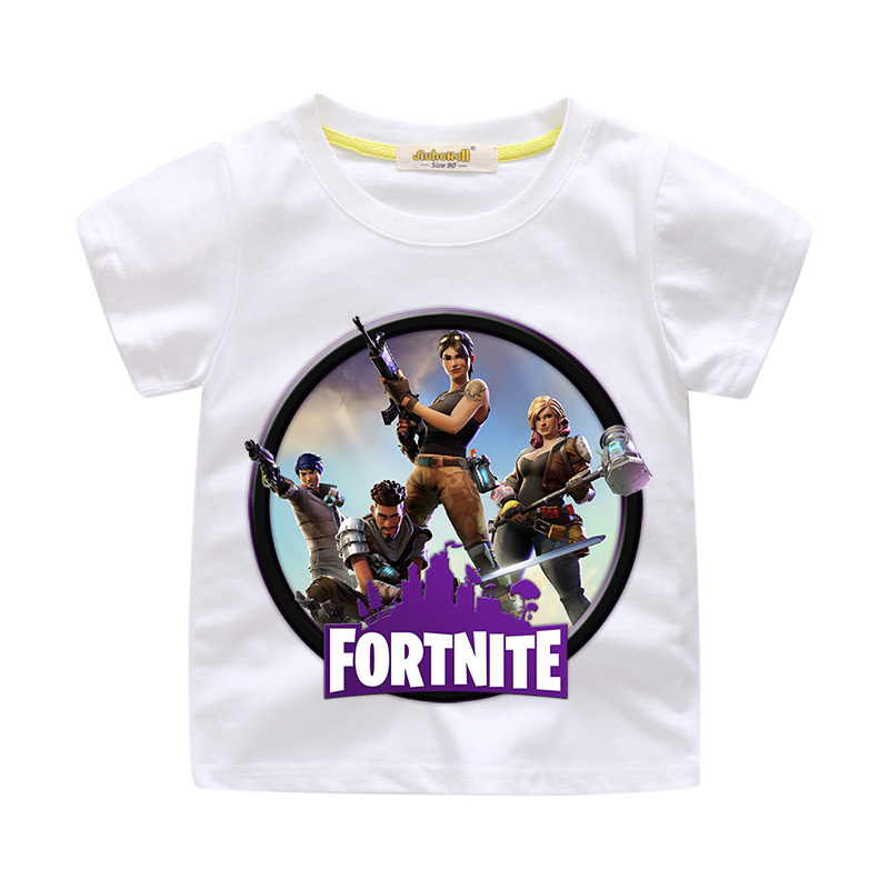 Boy Summer T-shirt Girls Fortnite Game Print Tee Tops Clothes Children Clothing Baby White Cotton Tshirt For Kids Costume WJ004