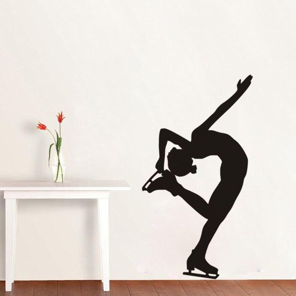 Dinding stiker gadis ice skater tari dinding decals removable vinyl wall stiker untuk kamar anak perempuan gym dekoratif decal mural sa031 di wall stickers
