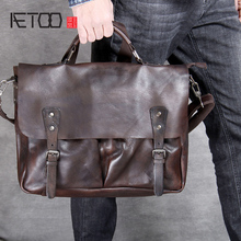 AETOO Classic head cowhide Postman bag vintage handmade men's shoulder crossbody bag leather laptop bag local focal handmade classic striped hand bag