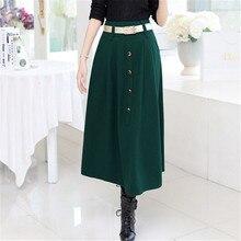 Winter Style Fashion Long Women Skirt Elastic Faldas Ladies Maxi Skirts High Waist Women's Woolen Skirts Saia Feminina C1283