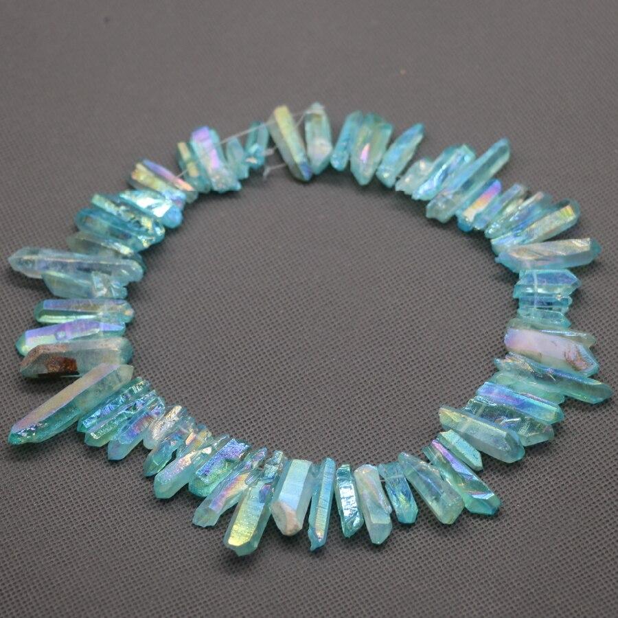 Aqua Crystal Titanium AB Healing Crystal Quartz Beads Top Drilled Point Pendant Rock Quartz Crystal Women