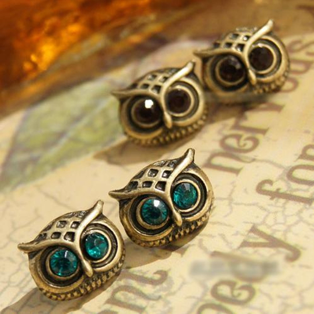 E07 Fashion Big Eye Owl Crystal Earrings Vintage Ancient Gold Color Owl Stud Earrings For Women Gift Wholesale Statement Jewelry