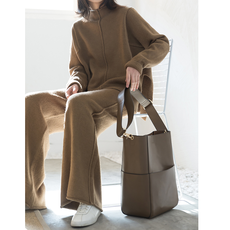 Pièce Tricot Haute Jambe Costume Rond Chandail Ensemble marron Taille Nouveau Pull Survêtement Lâche Vente Large Deux De 2018 Col En Pantalon Kaki Femmes nOk0wPX8
