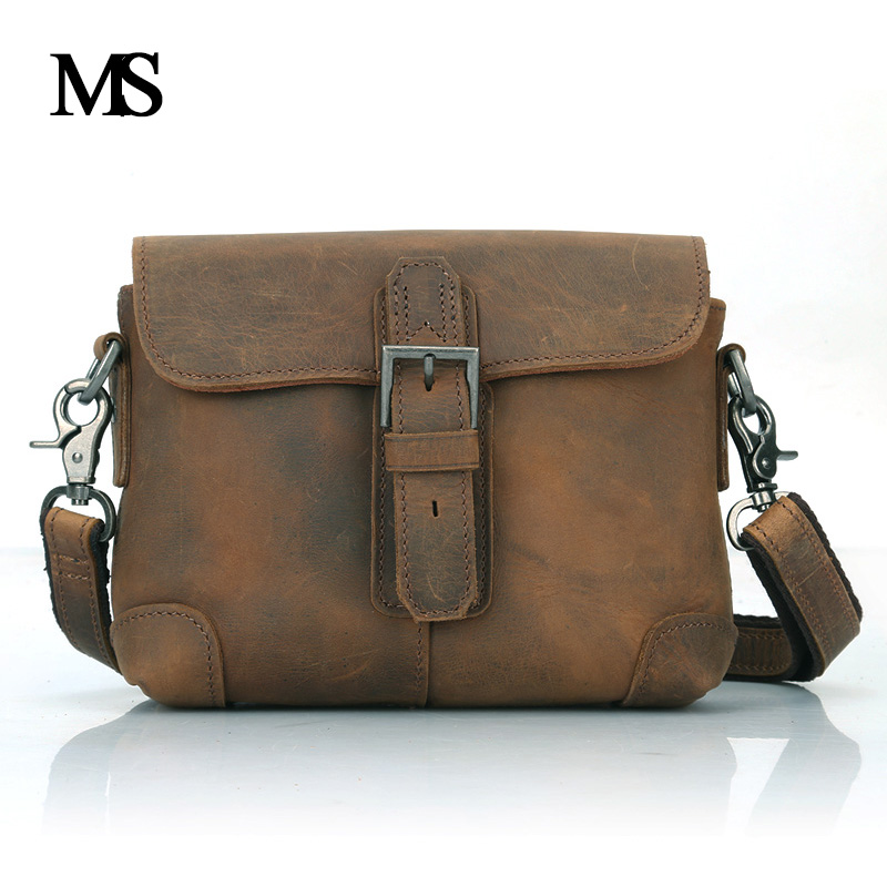 MS Business Men Genuine Leather Bag Natural Cowskin Men Messenger Bags Vintage Men's Cowhide Shoulder Crossbody Bag TW2003