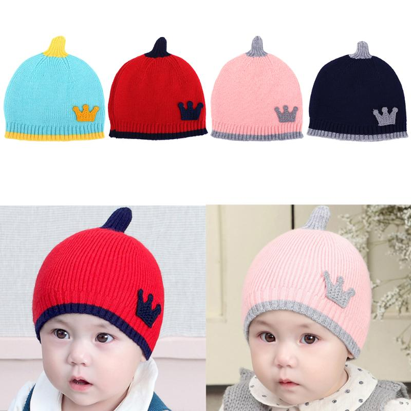 Cute Baby Crown Knitted Hat Caps Hats Fashion Kids Children Splicing Color Winter Warm Hats Skullies Toddlers Soft Beanies Cap
