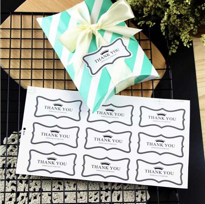 21 pc/set penyegelan stiker untuk kotak tas permen kue chocolate kertas paket hadiah Ulang Tahun mendukung Partai DIY terima kasih hitam crowm Wh
