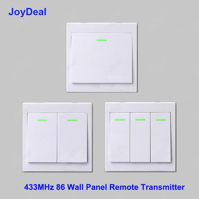433 Mhz 86 Panel de pared transmisor remoto inalámbrico 1 2 3 botones adhesivo RF TX hogar inteligente sala de estar dormitorio interruptor de Control remoto