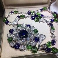 Горячая известная марка ювелирных изделий Подвеска веер в виде цветка ожерелье Женская мода кубический цирконий Мути цвет вечерние аксесс