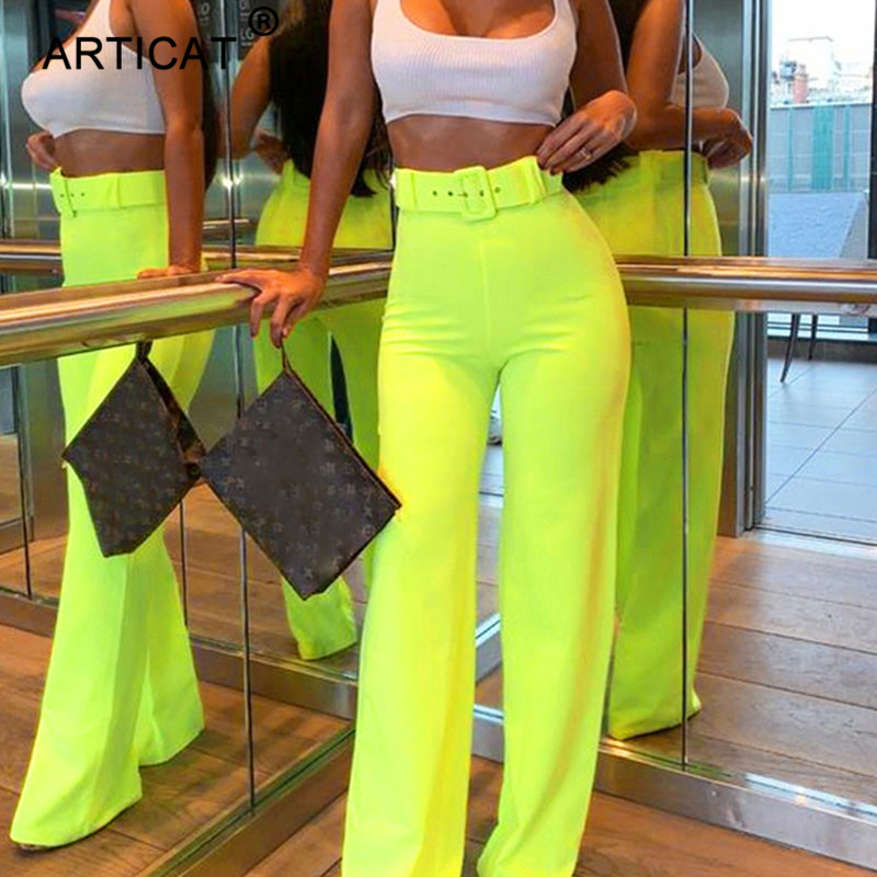Articat High Waist   Wide     Leg     Pants   Women Fashion Stretch Loose Summer Trousers Women Solid Streetwear Casual Autumn Ladies   Pants