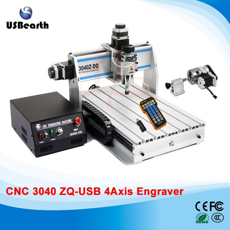 4 axis cnc machine 3040ZQ-USB mach3 remote control wood cutting machine, free tax to EU countries