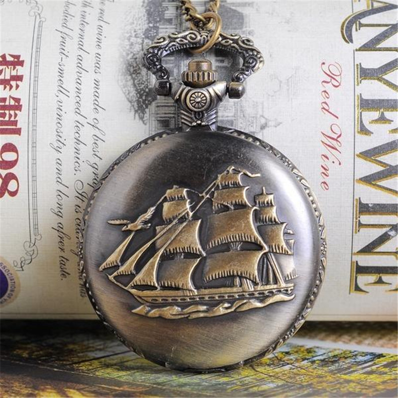 Vintage Watch Bronze Tone Quartz Pocket Watch Pendant Round Shape Carve Sailboat Steam Design Classical Gentleman Pocket Watch