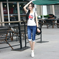 Half Ripped Jeans New High Waist Personality Fashion Street Hole Stretch Pants Slim Torn Femme Denim Shorts