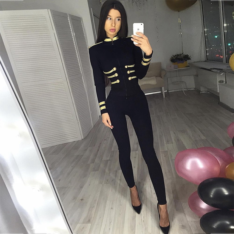 Ocstrade Femmes Automne Mode 2019 Fête De Noël De Haute Qualité Vert Plus La Taille Élégante Manches Longues Bandage Veste Moulante - 6