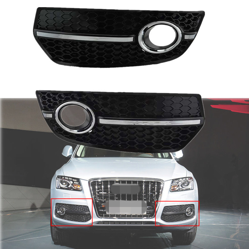 For 2009 2010 2011 Audi Q5 Bumper Grill Honey Comb Style With Chrome Fog Lamp Cover Grilles chrome s line style car fog light cover grills fit for audi a4 b8 2009 2010 2011 black car parts and accessories replacement
