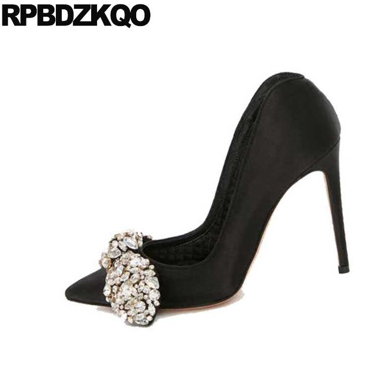 5e90155f303 ... Evening Pumps High Heels Black Pointed Toe Diamond Party Sexy Women  Shoes Rhinestones Bow Satin Stiletto ...