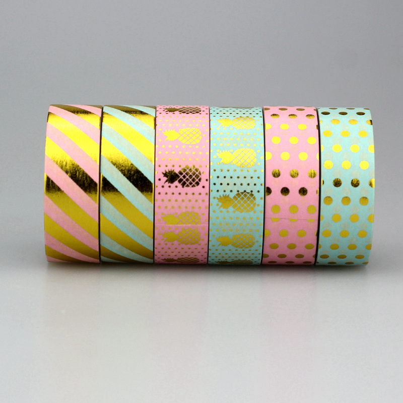 1Pc/Pack Size 15 mm*10m Kawaii Scrapbooking Tools DIY Stripes,Gold Pineapple & Dots Japanese Paper Foil Washi Tapes Masking Tape