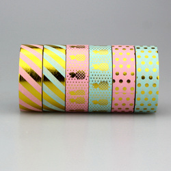 1pc pack size 15 mm 10m kawaii scrapbooking tools diy stripes gold pineapple dots japanese paper.jpg 250x250