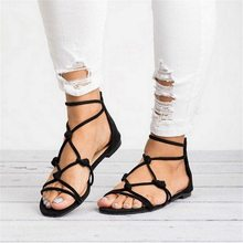 SHUJIN Summer Sandals Women 2019 Cross Strap Sandals Shoes Korean Style Women Shoes Ladies Flat Sandles Female Footwear(China)