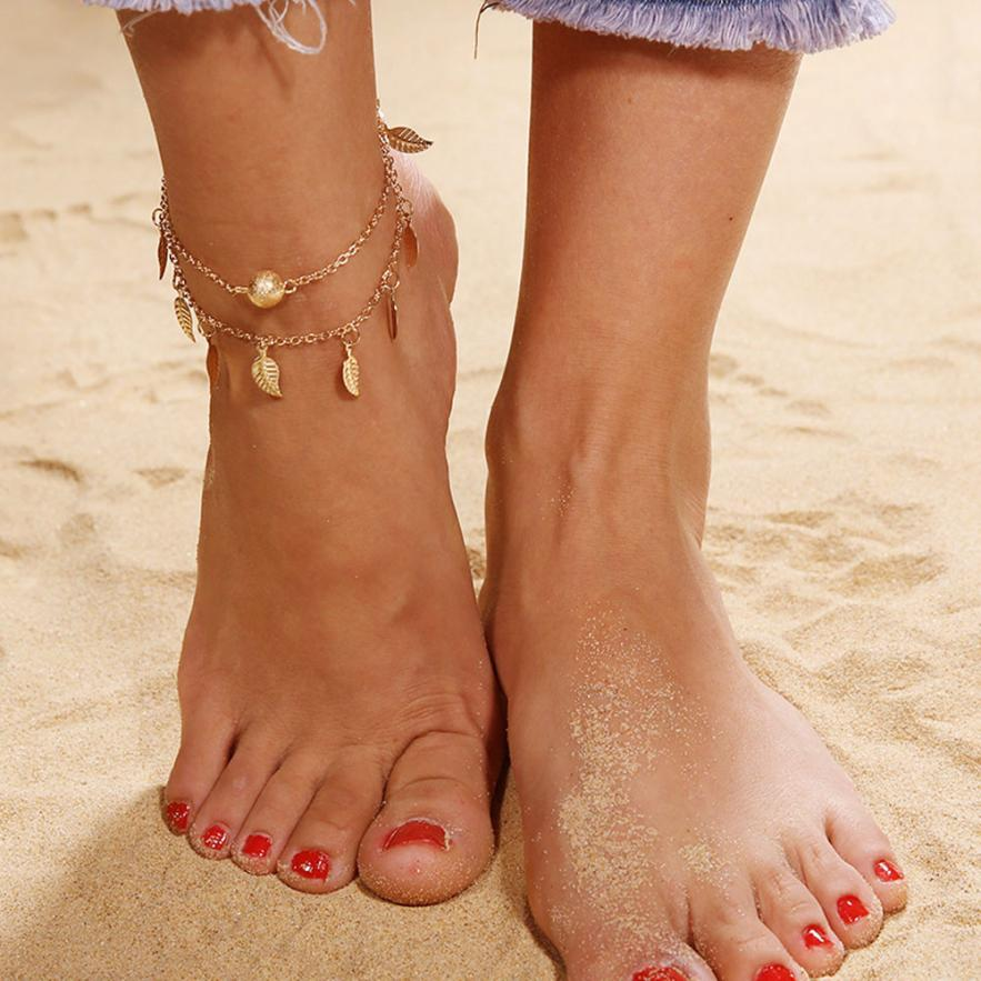 2018 NEW Double Leaf Chain Anklet Jewelry Anklets Beads Boho Foot Gothic Bohemian drop shipping Jun 14