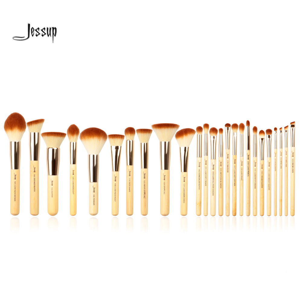 Jessup Brand 25pcs Beauty Bamboo Professional Makeup Brushes Set Make up Brush Tools kit Foundation Powder Blushes Eye Shader professional makeup brushes set make up brush tools kit foundation powder blushes white and black
