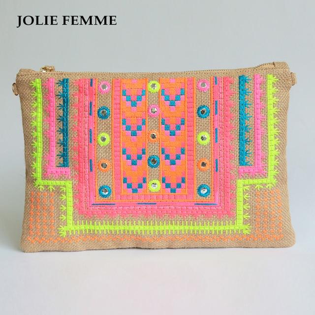 253ce3da2e JOLIE FEMME Envelope clutch bags Handmade Double Face Ethnic Embroidery  Phone Package sac a main femme necessaire vanity bag