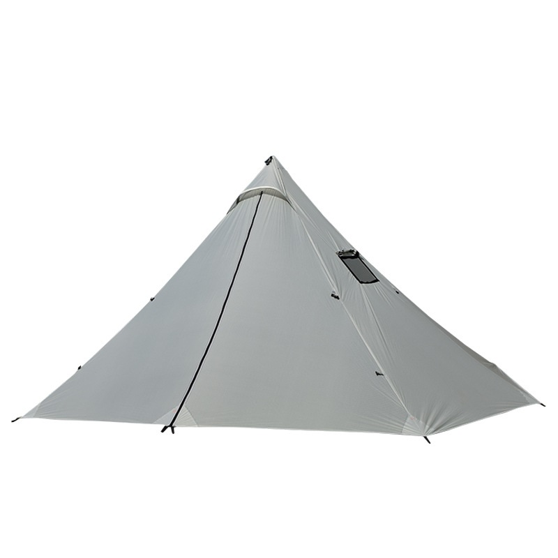 <font><b>3</b></font>-4 Person Ultralight Outdoor Camping Teepee 20D Silnylon Pyramid Tent Large Rodless Tent Backpacking Hiking Tents image