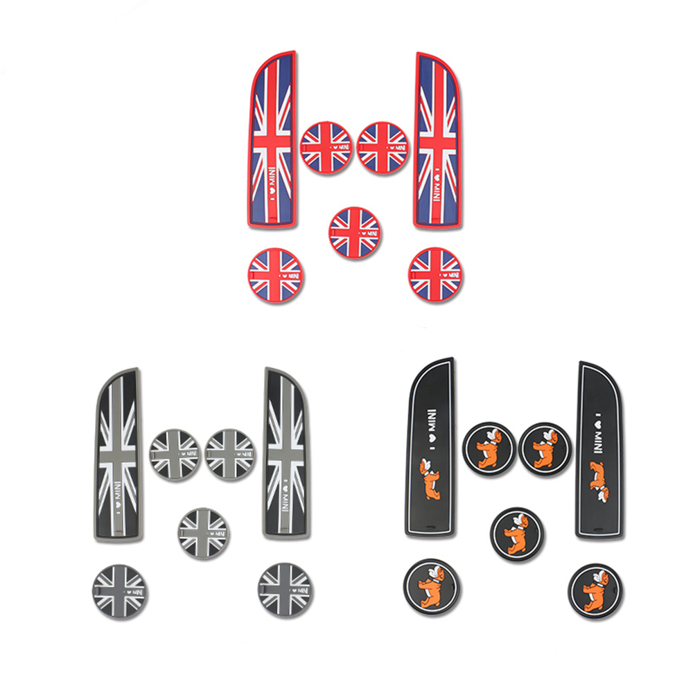 14 Union Jack UK Flag Coasters Cup Holders Side Door Mat For MINI Cooper R60
