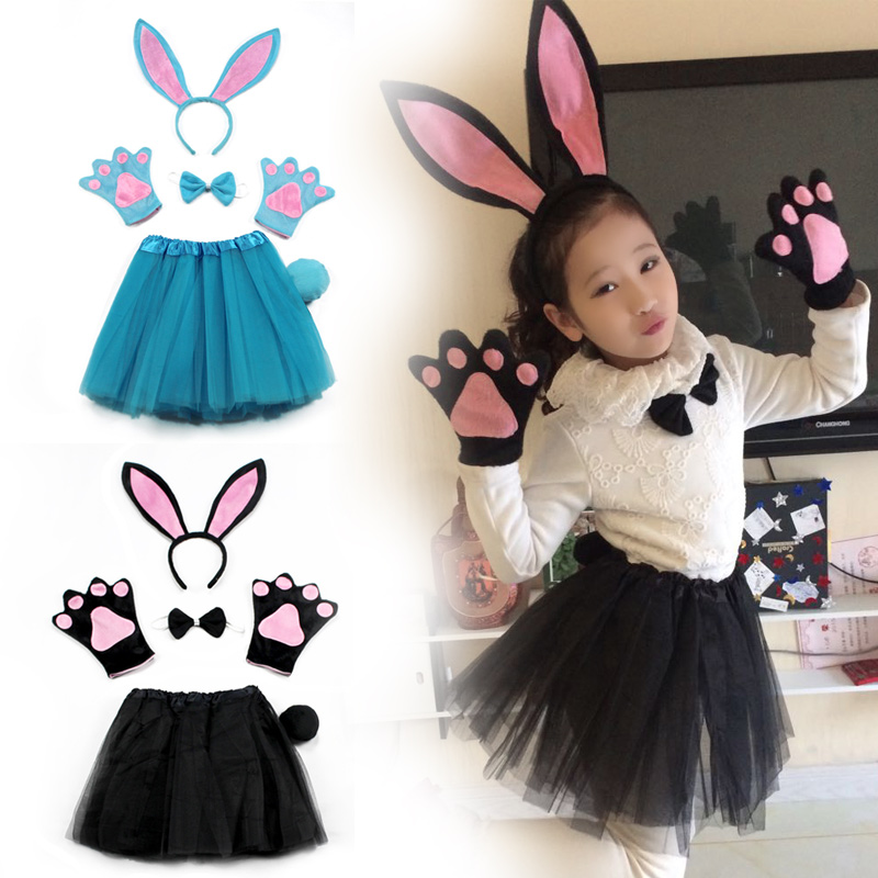 Children Tutu Skirt Suits Easter Cute Bunny Girl Big Rabbit Ear Headband Five-piece With Hairband Bow Tie Gloves Party Costumes